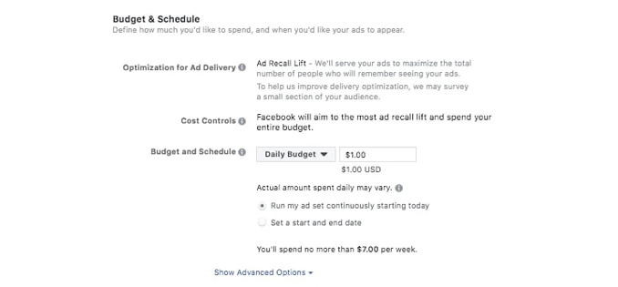 how to set Facebook ad budget